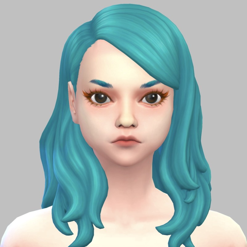 シムズ4_パラノーマルの髪型(横分けセミロング)