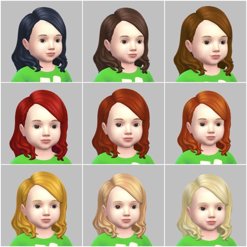 シムズ4_パラノーマルの幼児の髪型(横分けセミロング)一覧