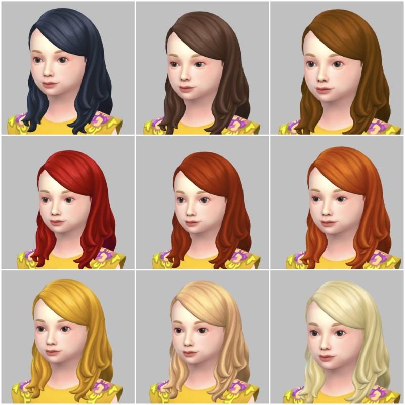 シムズ4_パラノーマルの子供の髪型(横分けセミロング)一覧